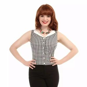 Collectif Gingham Judy Button Down Crop Top 3X